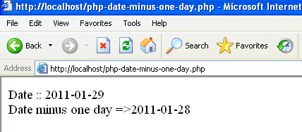 php date 1 day